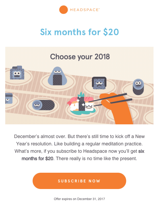 Headspace End of the Year Offer Email