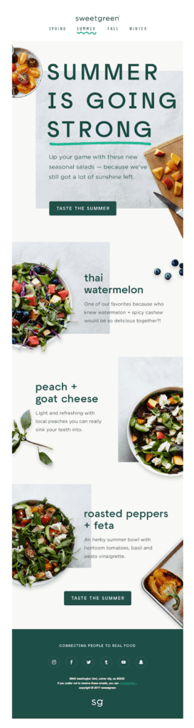 Sweetgreen Email Marketing Campaign