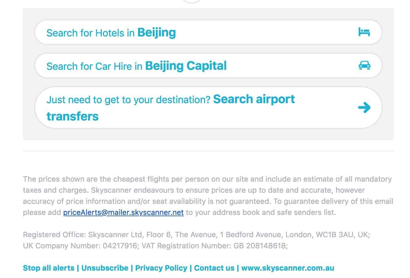 Skyscanner email marketing example