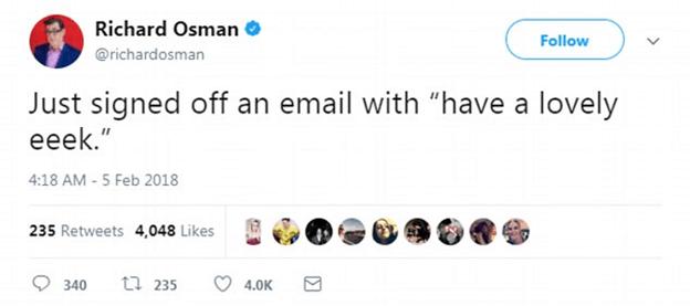 Richard Osman tweet