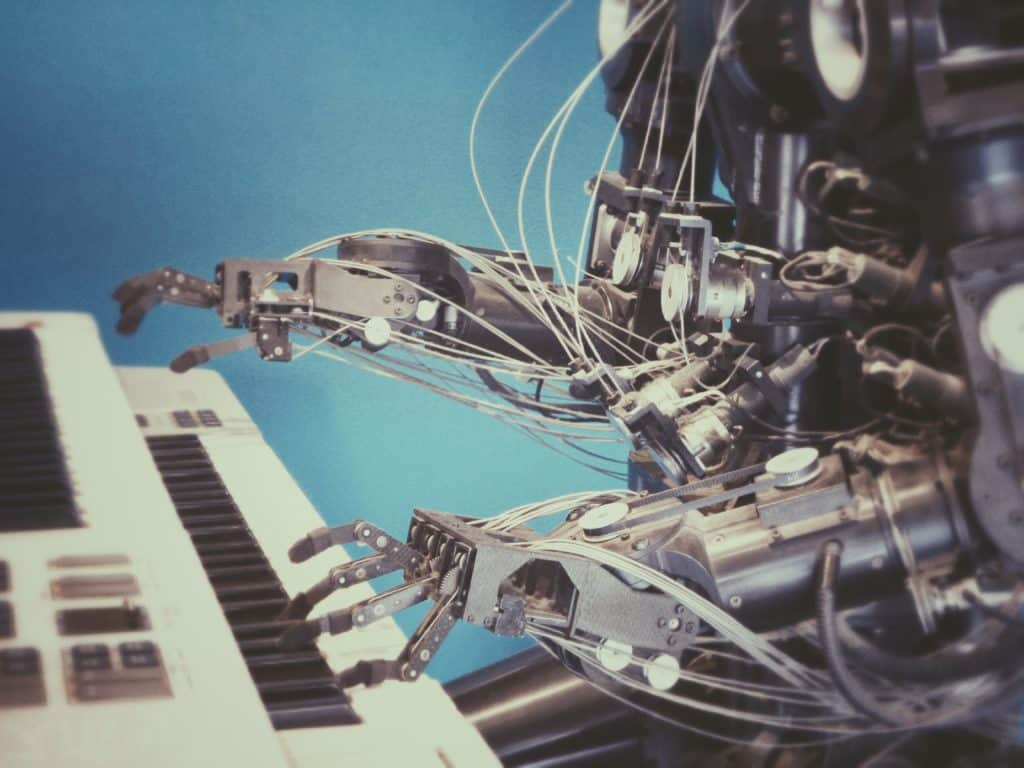 A robot playing the piano