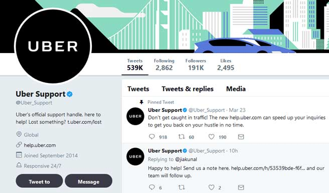 Customer Service Strategy - Uber - Twitter
