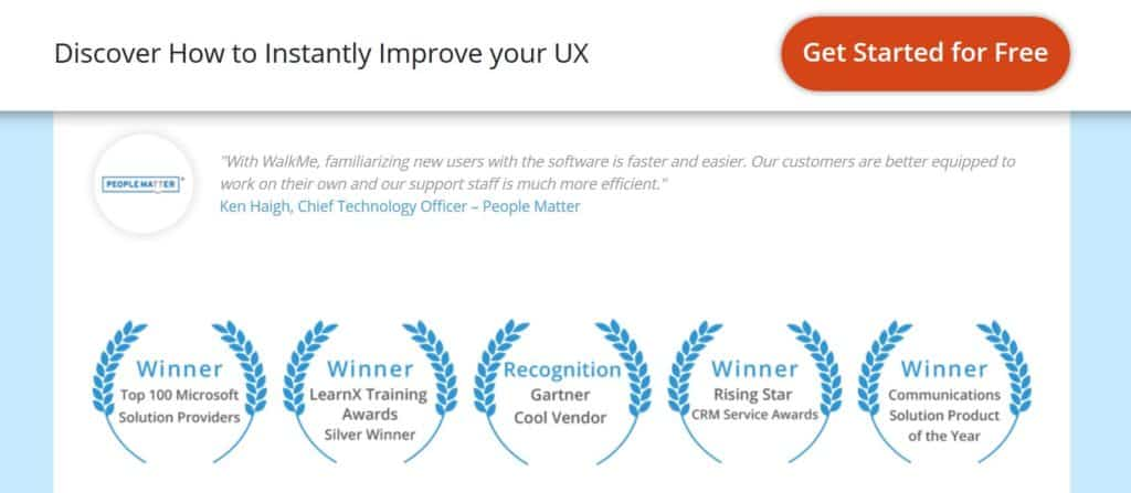 Awards on Lead Capture Landing Pages