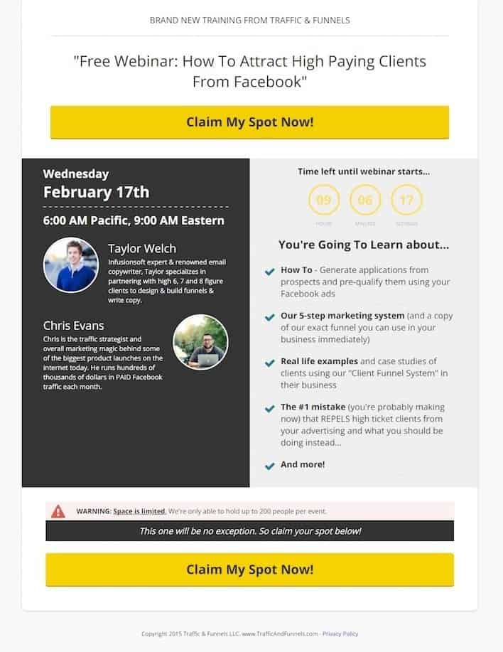 Lead Gen Copy on Lead Capture Landing Pages