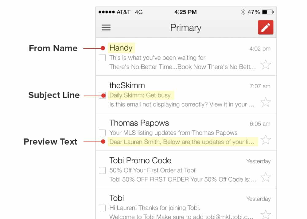 Preview text for email marketing