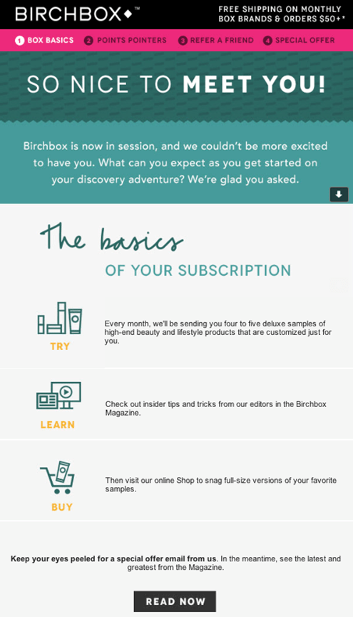 Birchbox welcome email