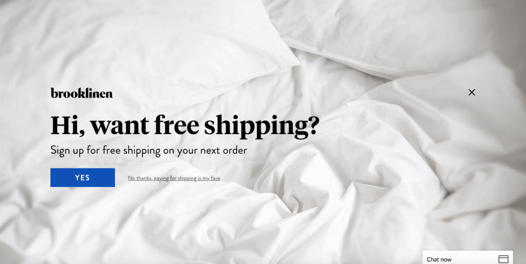 free shipping exit intent