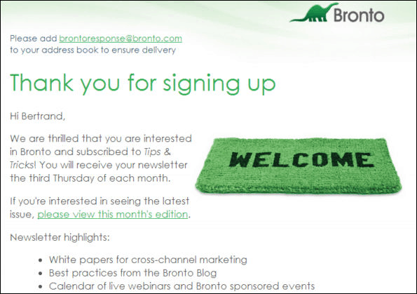 welcome email bronto
