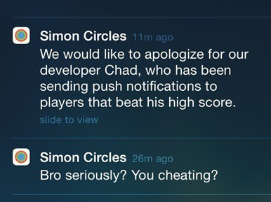 Simon Circles sends humorous notifications