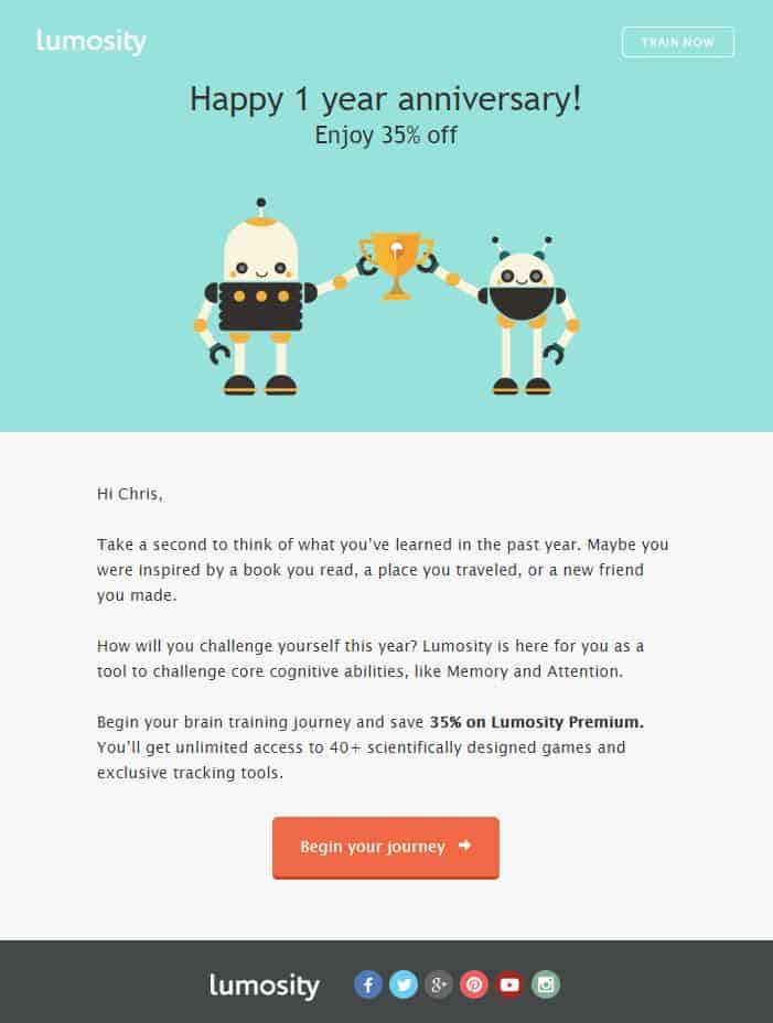 anniversary email example
