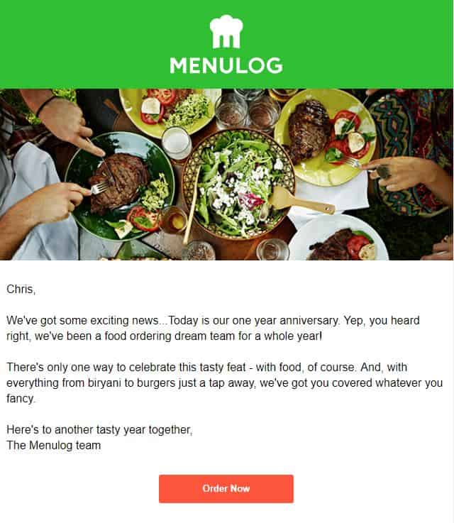 company anniversary email example