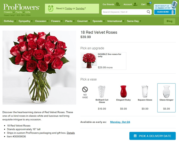 proflowers cross selling example