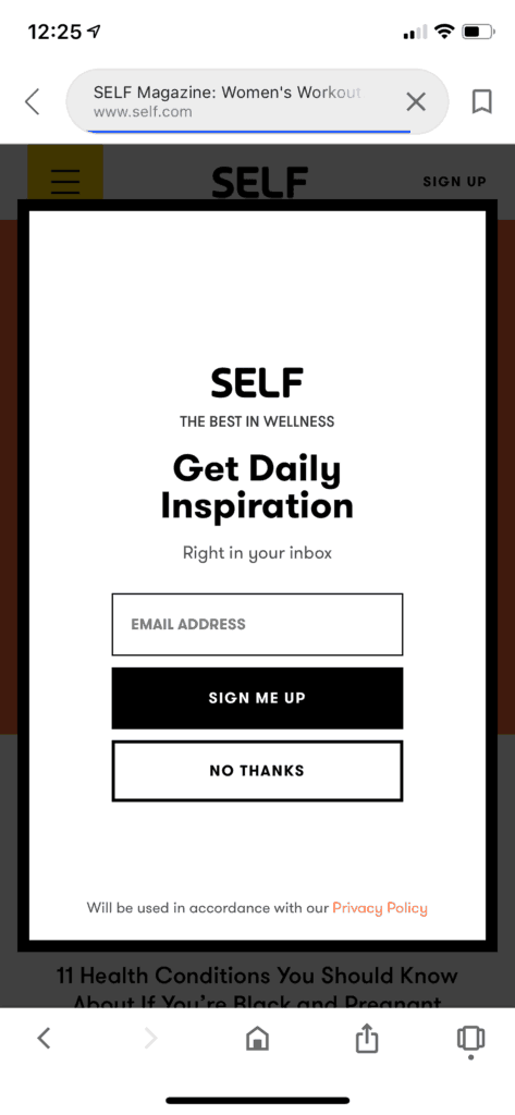 self website popups