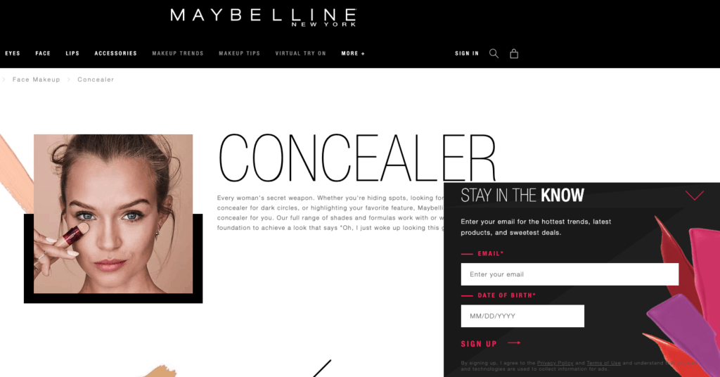 maybelline website popups