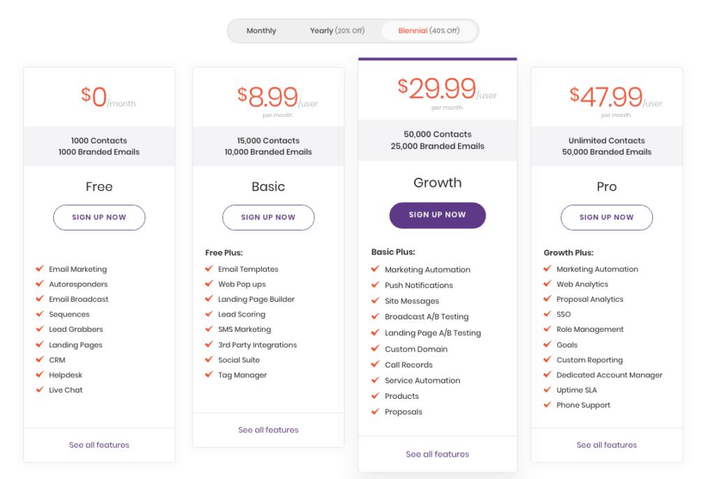 engagebay pricing options