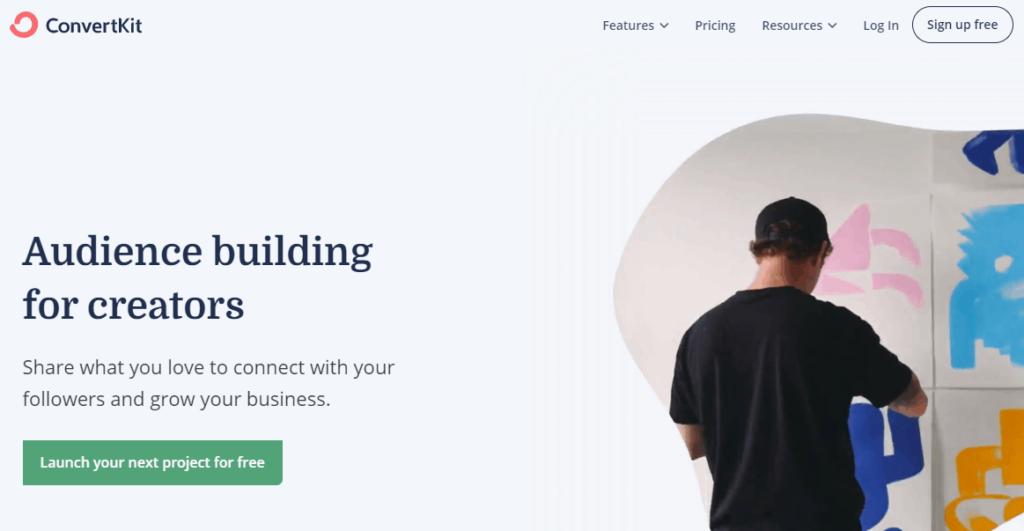 convertkit homepage