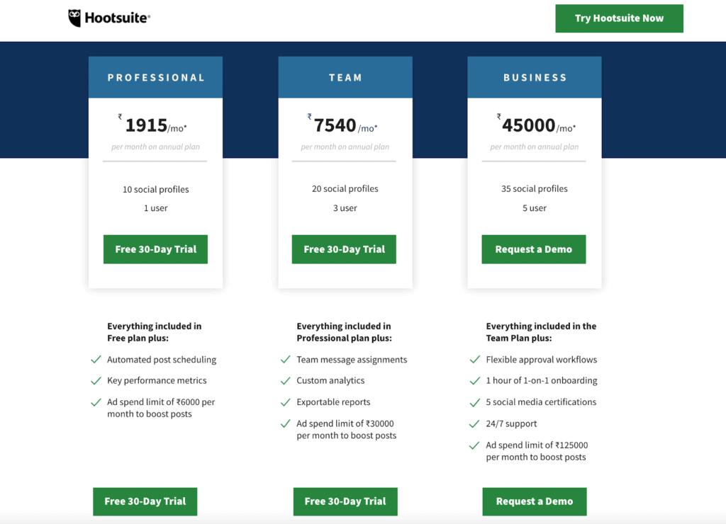 Hootsuite Pricing