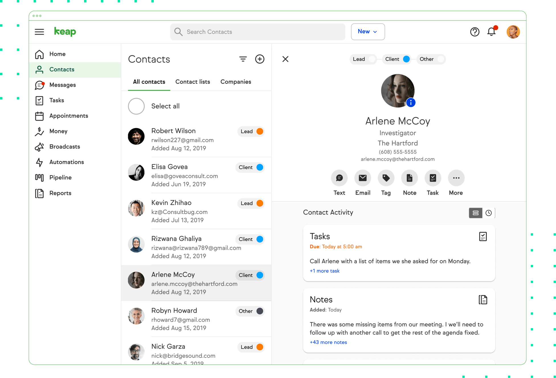 Keap contacts management tool