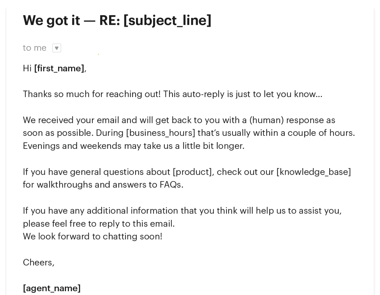 customer support email example