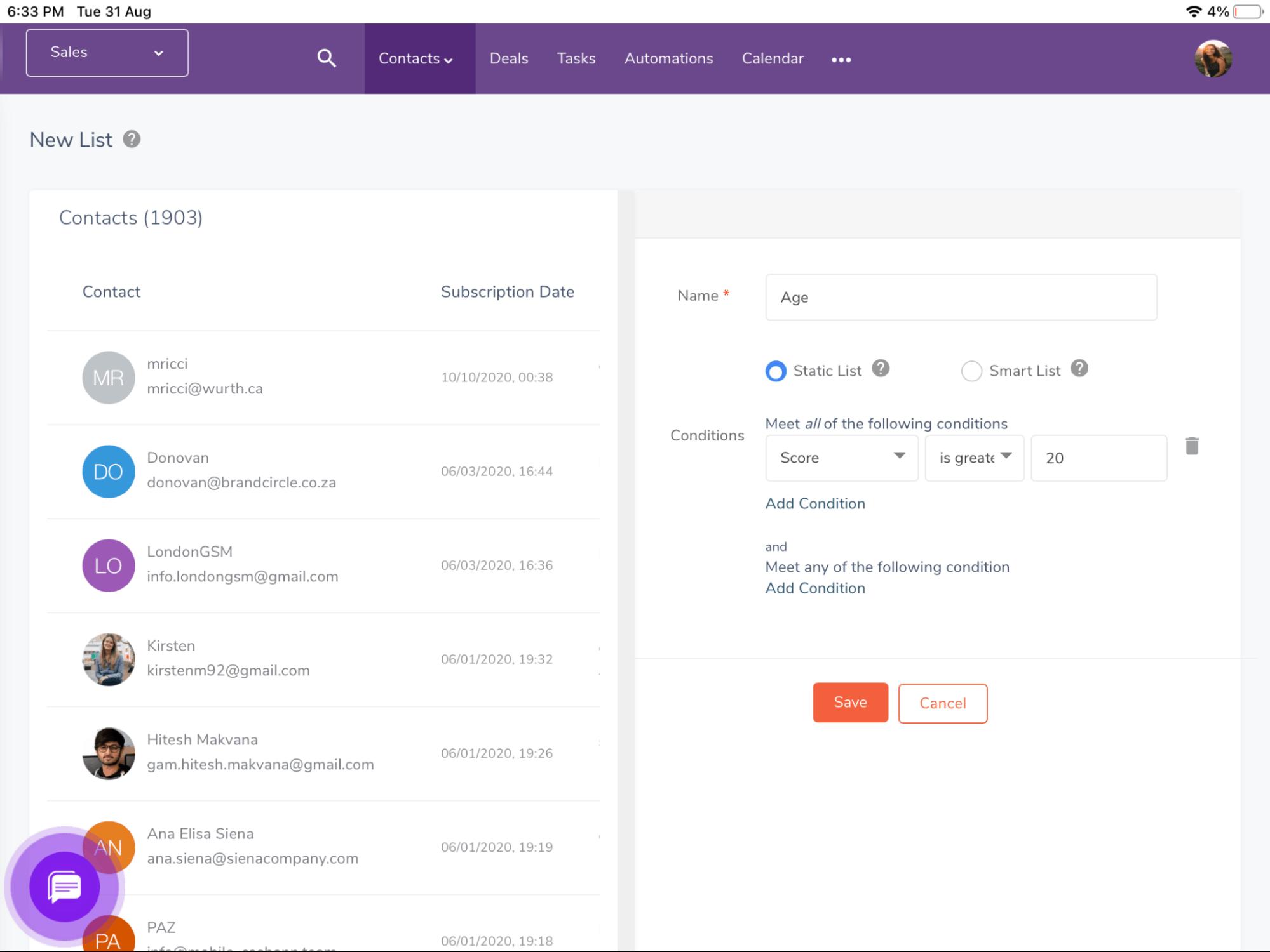 EngageBay smart list segmentation